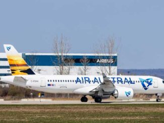 First A220-300 for Air Austral takes off at the A220 final assembly line in Mirabel, Canada