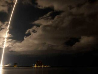 A United Launch Alliance Atlas V rocket with the Lucy spacecraft aboard is seen in this 2 minute and 30 second exposure photograph as it launches from Space Launch Complex 41, Saturday, Oct. 16, 2021, at Cape Canaveral Space Force Station in Florida